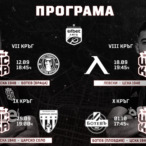 Schedule for the next four rounds of CSKA 1948 and CSKA 1948 II